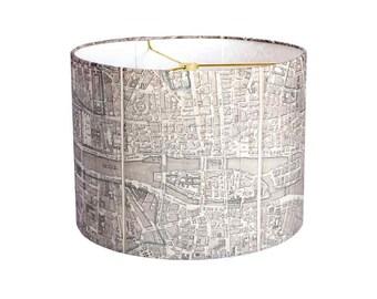 SMALL Linen Paris Map Lamp Shade - Neutral French Vintage Map Lampshade - 7 8 9 Inch Drum Lamp Shade - Custom Made to Order Lamp Shade