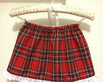 Tartan skirt, girls skirt, baby skirt, lace trim, elasticated waist, red tartan, christmas skirt, childrens skirt