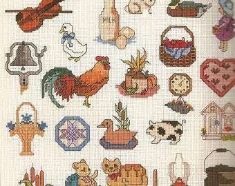 "Vitnage Graphworks ""Mini Motif Country Designs"" Cross Stitch Leaflet"