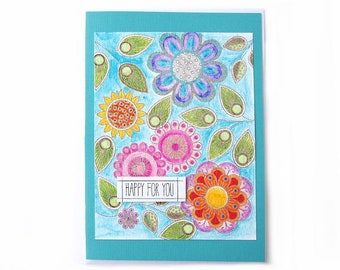 Watercolor Card, Happy for you, Doodle