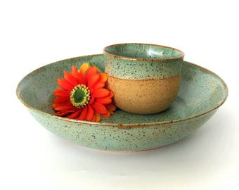 Chip and Dip Set - 2 piece - Appetizer Set - Serving Set - Ready to Ship - Hand Thrown Stoneware Pottery