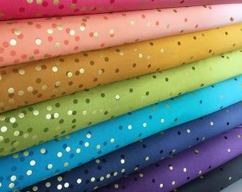 Ombre Confetti fabric by Vanessa Christenson, Gold Metallic Decor, Wedding fabric, Quilting, A Bundle of 8 fabrics, Choose the Cuts