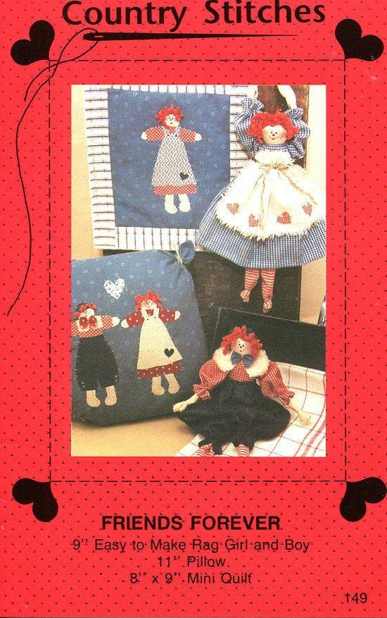 FREE US SHIP Country Stitches Friends Forever Raggedy Ann Andy Dolls ...