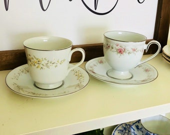 2~Set of 2 Teacups and Saucers. White, pink, yellow, tea party.