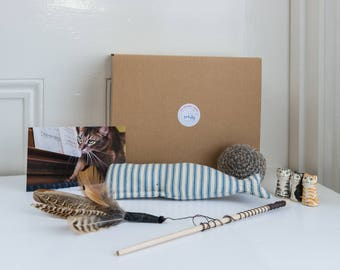 Cat toys and gifts - The kitty cuddle collection - a gift box of handmade cat toys for the cat, kitten or cat lover in your life