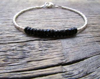 Black Onyx Bracelet, Onyx Stack Bracelet, Black Bead Bracelet, Chakra Bracelet, Onyx Jewelry, Hill Tribe Silver Bracelet, Gift For Her, Mom