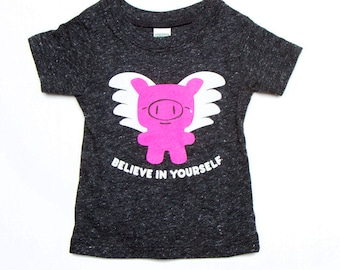 Flying Pig Baby Toddler Kid T-Shirt - Charocal Grey Organic Triblend ON SALE
