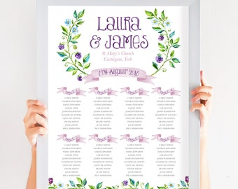 Blackberry Floral Table Plan, Personalized Wedding Seating Chart, Seating Arrangements, Blackberries A2 Size