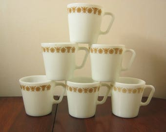 Vintage Pyrex Butterfly Gold D-Handle Mugs Pyrex Spring Blossom Coffee Mugs Set Of 6