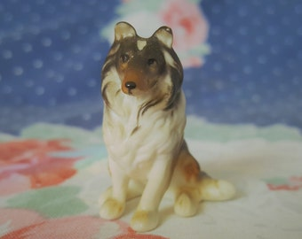Miniature Collie Dog Porcelain Pup for Dollhouse or Mini Collection FS