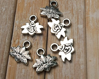 """10 Tiny Yoga Healing Charms Lotus Flower Ohm Charms Antique Silver  11mm( 3/8"""") x 10mm( 3/8""""),"""