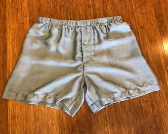 Mens Silk Boxer Shorts - Silver Blue- Small