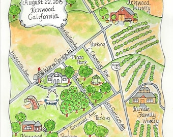 Custom Wedding Map - California vineyard map - Hand Drawn Wedding Map-Watercolor Map of your city