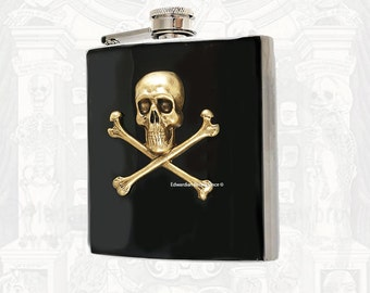 Antique Gold Skull and Crossbones Flask Inlaid in Hand Painted Glossy Black Enamel with Engraved and Personalized Option