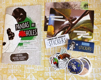SPECIAL OFFER** One of everything: Pandas are ***holes zine, two postcards, both sticker sets