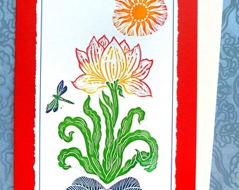 Dragonlily Hand Made Blank Card, Archival Reproduction of an original linocut.