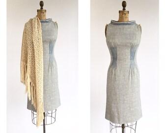 1960's Linen Stripe Sheath Dress
