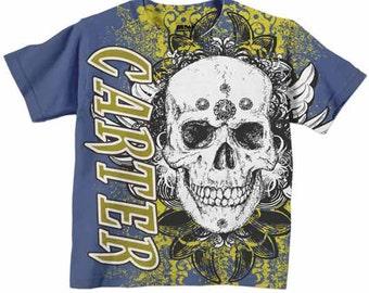 Skull Shirt, Personalized Grunge Boys T-shirt Top