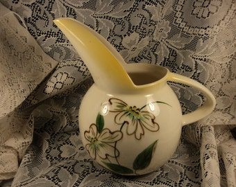 Vintage Art Deco Pitcher with Long Spout and Hand Painted Flowers