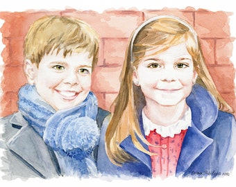 Custom family portrait Children portrait Child portrait Family illustration Family portrait Baby portrait Custom children portrait