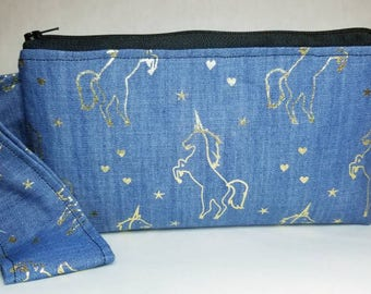 Gold unicorn, denim make up clutch 8x5 handmade Cosmetic bag, wristlet. Tie dye lining, inside pocket text messages, fun fabric combo