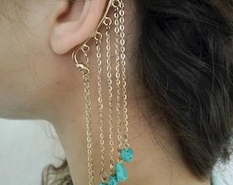 Brass Ear Cuff Earrings, Ear Cuff, Bohemian Earrings, Tribal Earrings, Tribal Ear Cuff, Ear Cuff Jewelry, Indian Earring, Gypsy Earrings
