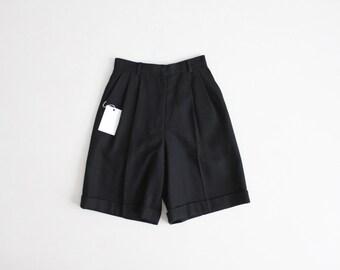 black wool shorts | high waist shorts | high waisted wool shorts
