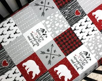 Woodland Baby Bedding, Bear Crib Quilt, Baby Boy Woodland Nursery