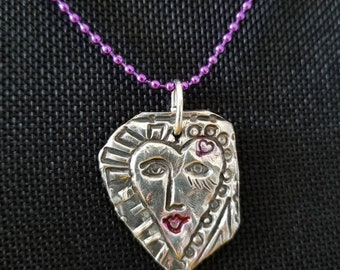 Love yourself artisan fine silver pendant dangles from bright purple ball chain