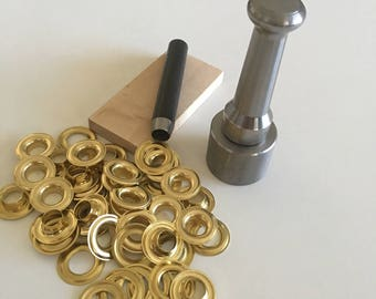 "No. 0 ( 1/4"" ) Grommet Kit With Brass Grommets"