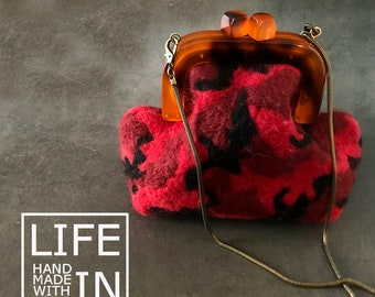 Needle felting handbag, Camouflage handbag, Resin frame bag, Wool handbag,