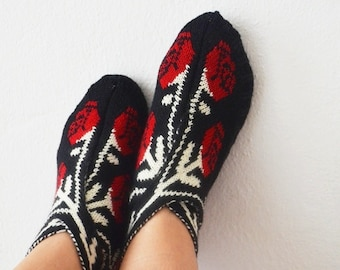24-Hour SALE  Rose Black and red knit slippers ,authentic regional slippers,Home slippers - OOAK-Valentine's Day