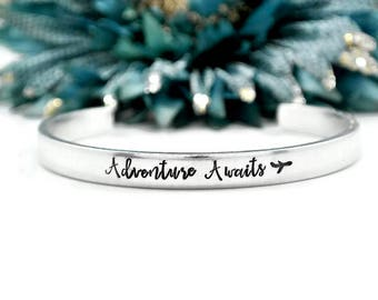Adventure Awaits Bracelet | Travel Gifts for Women | Adventure Awaits Jewelry | Travel Gifts for Her | Hand Stamped Cuff Bracelet