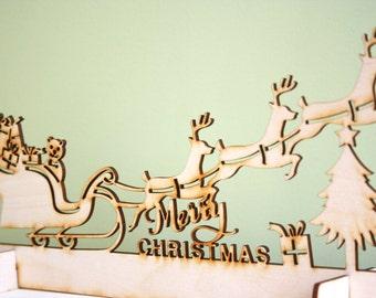Décoration de traîneau de Noël bois, Laser Cut rustique avec cheminée Rennes, affichage des ombres,
