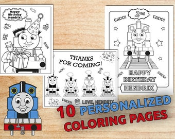 Thomas The Train Birthday Party Coloring pages, Personalized, Printable, Party supplies, Digital, PDF