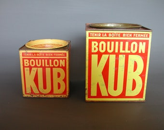 Two Vintage French Bouillon Kub Advertising Tins, Kitchen Decoration,  French Rustic Country Kitchen Style