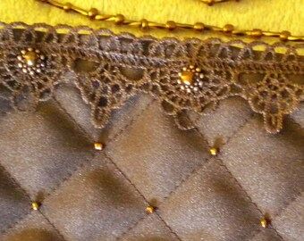 Chocolate Brown Quilted Evening Bag with Copper Glass Beads and Lace