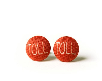 Toll Stud Earrings, Typography, Fabric Buttons, Small Ear Studs, Earrings for Children, Gift for Her
