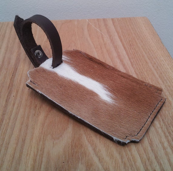 Leather Luggage Tag - Unique Travel Accessory - Tan/White Cowhide - pony hair