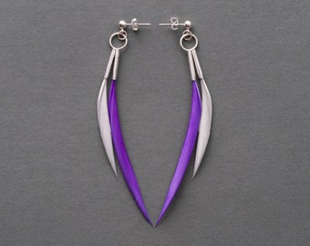 Minimalist Spike Dangle Feather Earrings in Neon Purple + Silver Grey on Small Hoops + Silver Studs