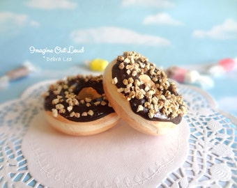 Fake Donut Doughnut Glazed Chocolate with Nuts Food Prop Display Faux Decoration