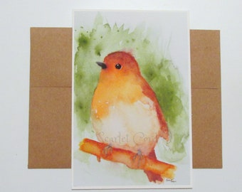 Robin Watercolor Print, Bird Print, 4x6 Painting, Note Card and Envelope, Bird Painting, Nature Wall Decor, Bird Print