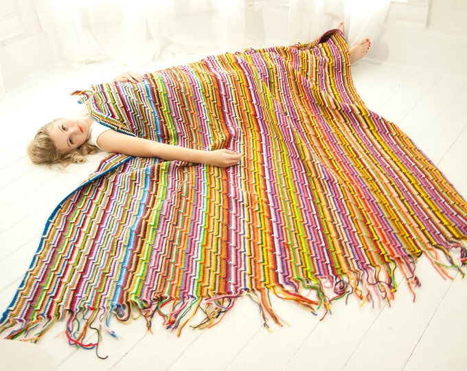 Vintage large striped afghan throw blanket, wool colorful rainbow fringe accent lap retro boho home decor, 1970s