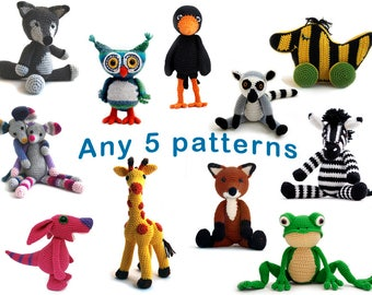 Patternbundle: Any 5 amigurumi animal crochet patterns of your choice