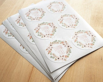 Floral Wreath Thank You Stickers White Label Seal - Pack of 48