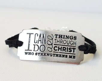 I Can Do All Things Through Christ Who Strengthens Me Bracelet Phil 4:13 Inspirational quote Bracelet