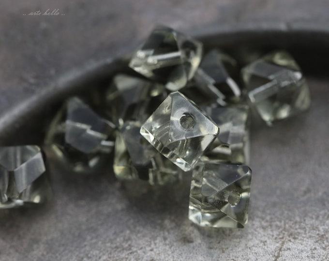 MIST .. 10 Premium Czech Faceted Cube Glass Beads 6x7mm (5566-10)