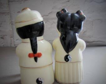 Vintage Chinese Porcelain Figurines Jade Girl Golden Lucky Boy Figurine Pair, Yin Yang, Feng Shui Pair Figurines
