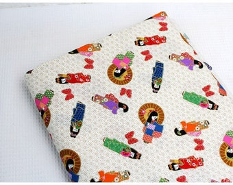 1 x fabric coupon Japanese 45x110cm girl kimono patchwork bag beige stitching