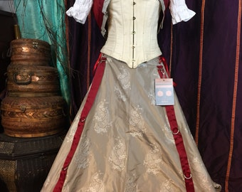 "grey and white paisley hitcher skirt and bolero  22"" to 50"" waist  36"" long steampunk, cosplay, lolita, fairy"
